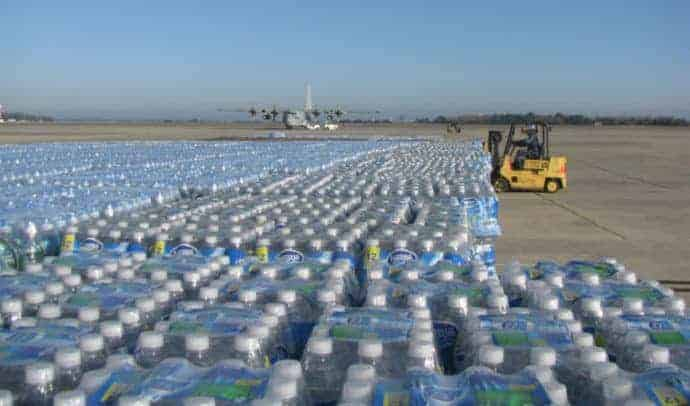 a lot of bottled water