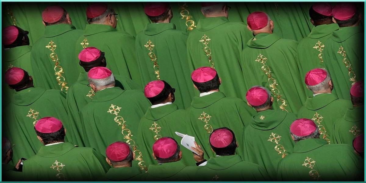 Bishops in attendance attend attending Mass Pope Francis celebrated synod meeting St. St Peter Peter's Square Vatican