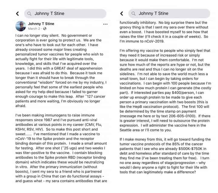 Facebook post by Johnny Stine in March announced that he would be offering his alleged vaccines