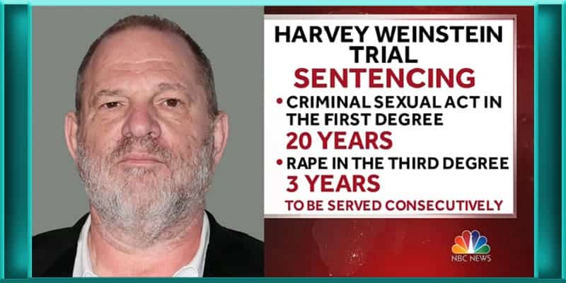 disgraced Hollywood producer Harvey Weinstein sentenced to prison 23 years rape sexual assault conviction charges