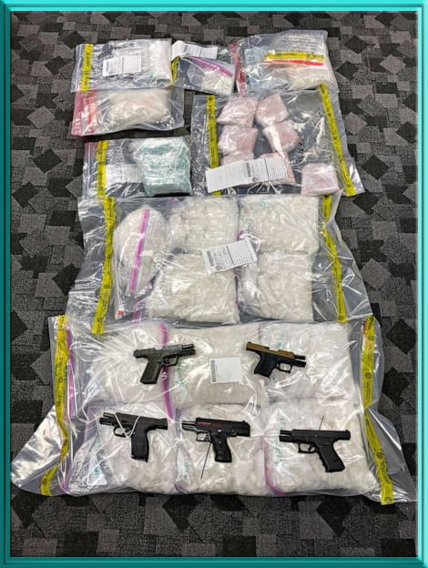 DEA Seizure by Los Angeles Joint Criminal Opioid Darknet Enforcement on Feb. 11 2020 120 pounds of methamphetamine, 7-kilograms of MDMA and 5-firearms