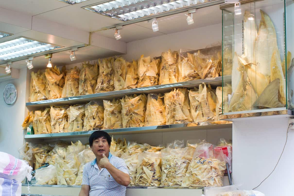 Shark fins on display in the Sheung Wan district of Hong Kong