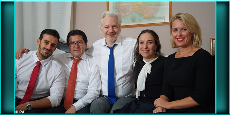 Spanish counsel Aitor Martinez, Ecuadorian counsel Carlos Poveda, Julian Assange, Stella Morris-Smith Robertson, barrister Jennifer Robinson.