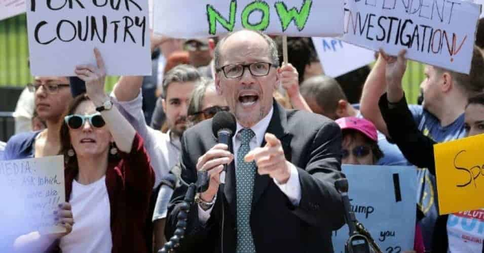 Democratic National Party Chirman Tom Perez speaks as about 300 people rally to protest against President Donald Trump's firing of Federal Bureau of Investigation Director James Comey outside the White House May 10, 2017 in Washington, D.C. (Photo: Chip Somodevilla/Getty Images)