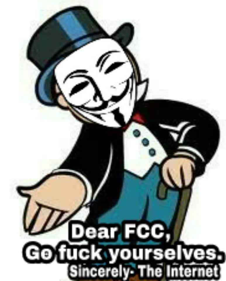 Message to the FCC from the Internet anonymous says go fuck yourself Ajit Pai DOXED DOXXED