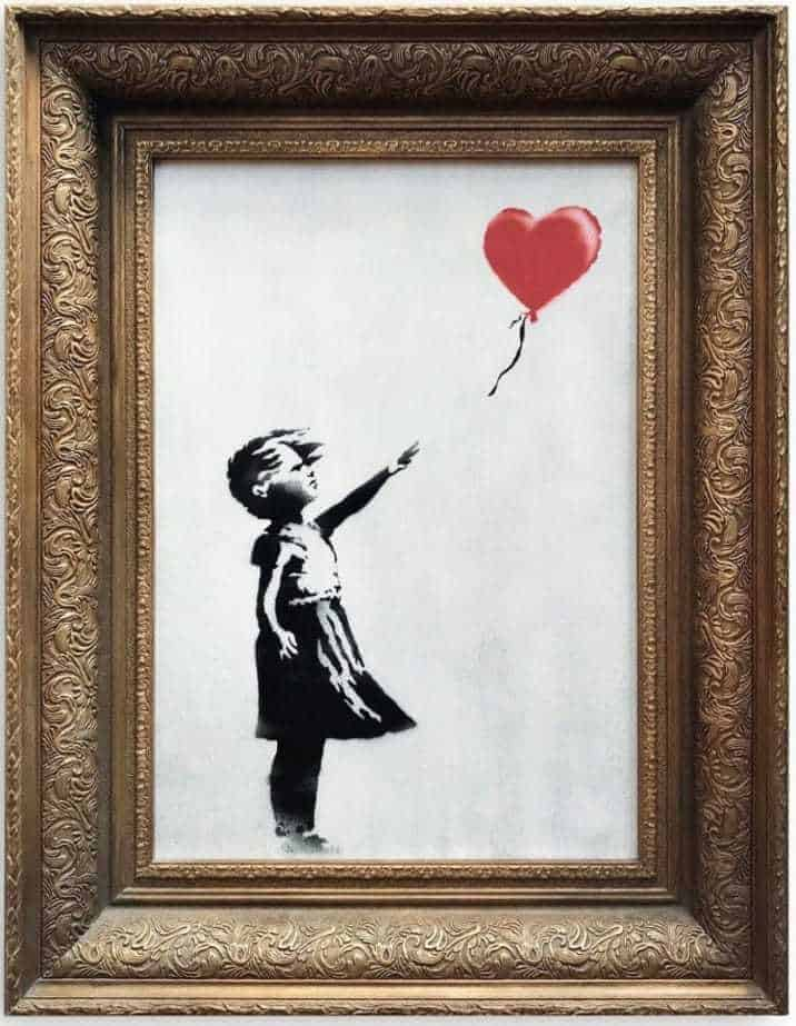 girl with red balloon painting banksy self destruct destructed
