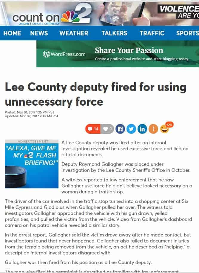 nbc 2 lee county deputy fired for using unnecessary force