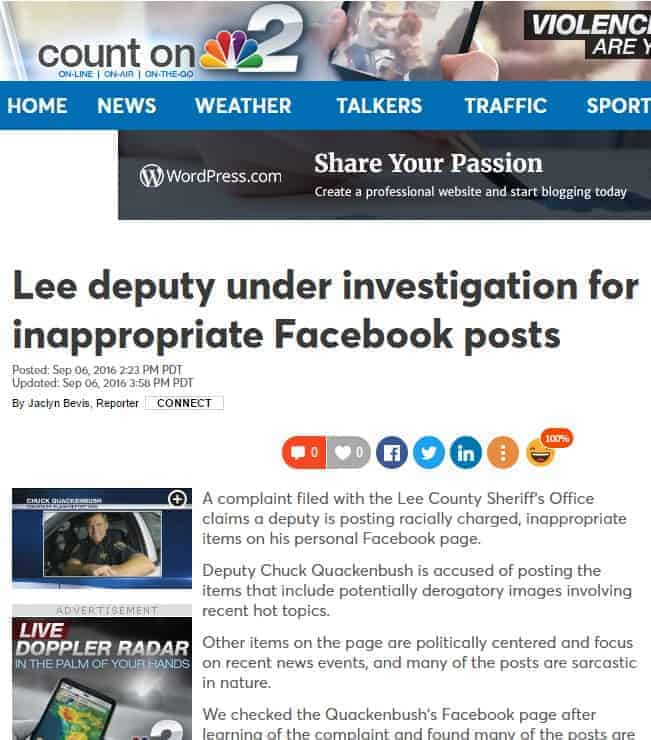 nbc 2 lee county deputy under investigation for inappropriate facebook posts