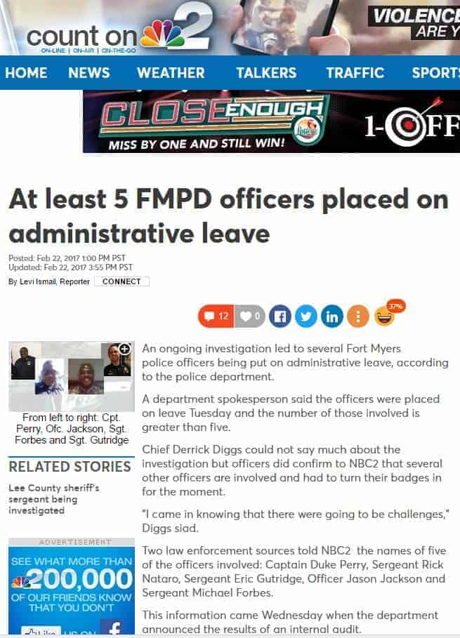 nbc 2 news at least 5 Fort Myers PD officers placed on administrative leave