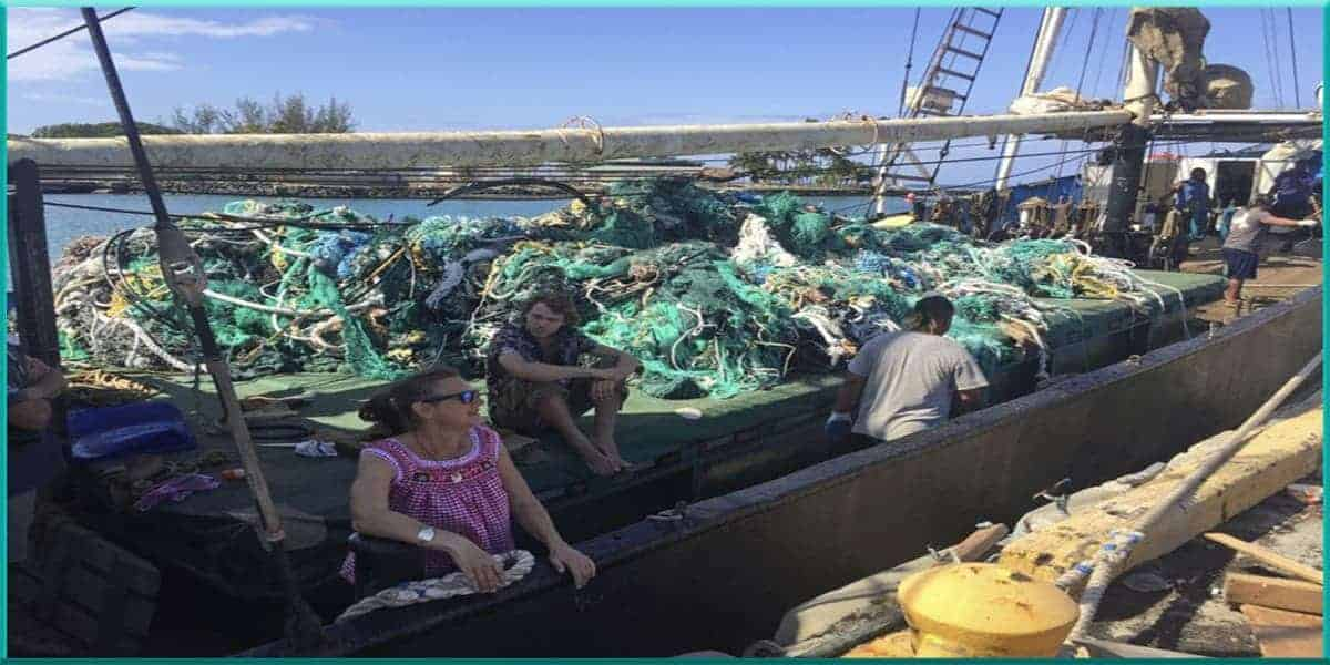 40 tons fishing nets cleanup hauled collected pacific ocean garbarge patch June 2019 AP photo