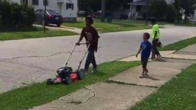 police called on 12 year old boy for mowing lawn has good ending who does that ? cop calling out of control