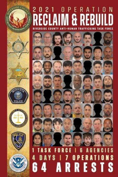 riverside county sheriffs department california human trafficking operation 64 arrested 2 women rescued