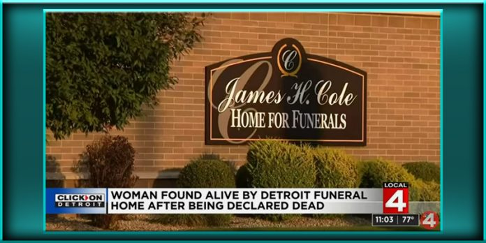 woman declared dead deceased found alive at in inside Detroit Michigan funeral home
